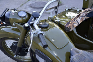 military motorcycle with sidecar